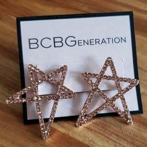 BCBG Rose gold tone Star Earrings with crystals